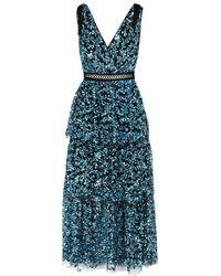 Self-Portrait - Blue Tiered Sequinned Midi Dress - Lyst