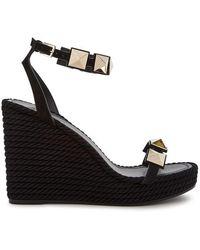 Valentino - Torchon Rockstud Leather Wedge Sandals - Lyst