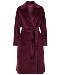 Max Mara Studio - Burgundy Alpaca-blend Coat - Lyst