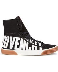 Givenchy - Black Logo-print Canvas Hi-top Trainers - Lyst