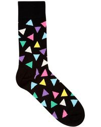 Happy Socks - Triangle Black Cotton Blend Socks - Lyst