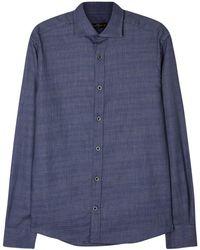 Corneliani - Navy Textured Cotton Shirt - Lyst