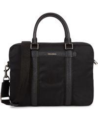 Dolce & Gabbana - Black Leather-trimmed Nylon Briefcase - Lyst