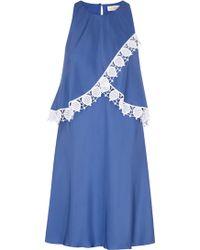 Tory Burch - Amanda Lace-trimmed Silk Dress - Lyst