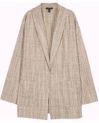 Eileen Fisher - Ecru Pinstriped Cotton Jacket - Lyst