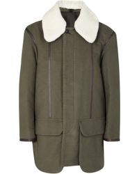 Casely-Hayford - Dhobi Olive Shearling-trimmed Cotton Coat - Lyst
