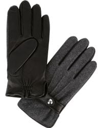 Polo Ralph Lauren - Grey Leather And Wool Blend Gloves - Lyst