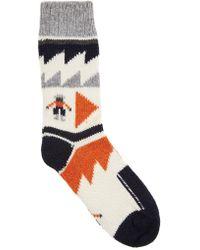 Folk - Ecru Intarsia Wool Blend Socks - Lyst