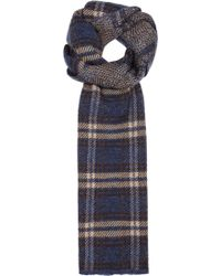 Lardini | Navy Checked Wool Blend Scarf | Lyst