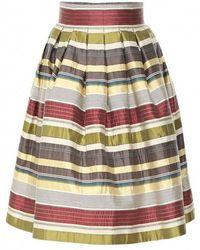 Varana - Striped Silk Jacquard Skirt - Lyst