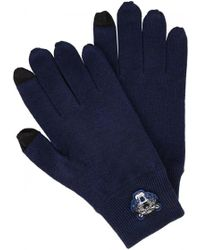 KENZO - Dark Blue Wool Touch Screen Gloves - Lyst