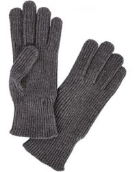 Moncler - Grey Ribbed Wool Gloves - Lyst