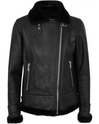 La Bête   Moto Black Shearling-lined Leather Jacket - Size M   Lyst