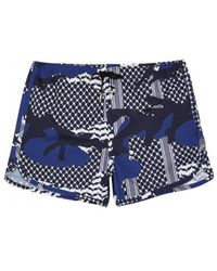 Neil Barrett - Blue Printed Swim Shorts - Size L - Lyst