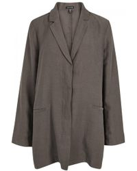 Eileen Fisher - Brown Tencel And Linen Blend Jacket - Size M - Lyst