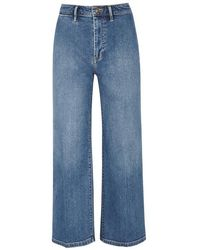 Vince - Blue Cropped Wide-leg Jeans - Lyst