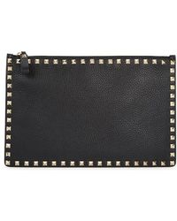 Valentino - Rockstud Black Leather Pouch - Lyst
