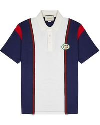 72ae0999 Gucci - Panelled Cotton Polo Shirt - Lyst