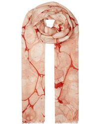 Eileen Fisher - Red Marble-print Scarf - Lyst