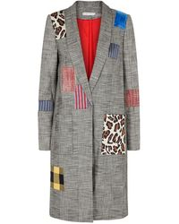 Alice + Olivia - Kylie Patchwork Checked Coat - Lyst