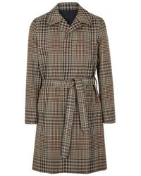 AMI - Checked Houndstooth Wool Coat - Lyst