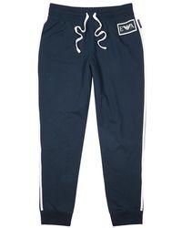 Emporio Armani - Navy Striped Cotton Jogging Trousers - Lyst
