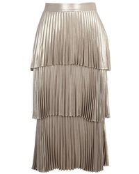 A.L.C. - Harley Pleated Tiered Lamé Midi Skirt - Lyst