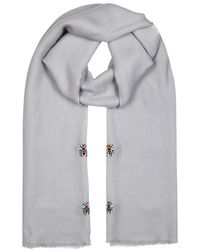 Janavi - Bees Embroidered Cashmere Scarf - Lyst