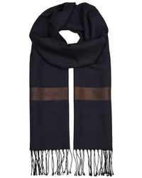 Corneliani - Midnight Blue Herringbone Wool-blend Scarf - Lyst