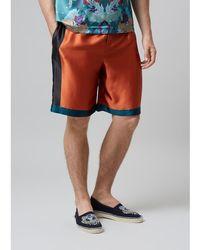 Meng - Men S Orange Printed Long Silk Satin Shorts - Lyst