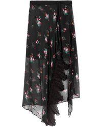 Pinko - Black Floral-print Asymmetric Wrap Skirt - Lyst