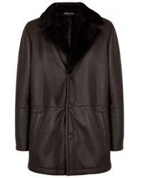 Corneliani - Chocolate Shearling And Leather Jacket - Lyst