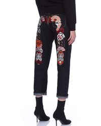 Evisu - Boyfriend Jeans With Multi-badge Daicock Embroidery - Lyst