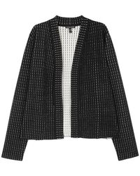 Eileen Fisher - Black Striped Stretch-knit Jacket - Lyst