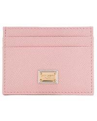Dolce & Gabbana - Blush Saffiano Leather Card Holder - Lyst