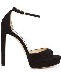 69812be6ba7f Jimmy Choo Pattie 130 Suede Sandals in Black - Lyst