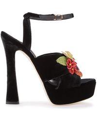 Sophia Webster - Lilico Floral-embellished Velvet Sandals - Lyst