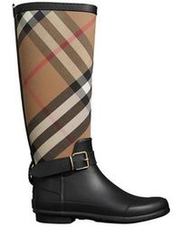 Burberry - Belt Detail Check And Rubber Rain Boots - Lyst