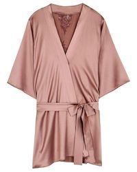 Fleur Of England - Desert Rose Silk-blend Robe - Lyst