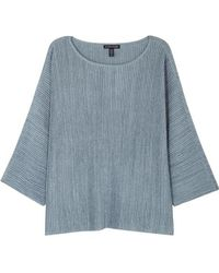 Eileen Fisher - Blue Ribbed Stretch-knit Jumper - Lyst