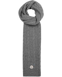 Moncler - Grey Cable-knit Wool Scarf - Lyst
