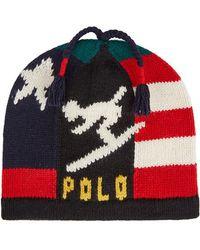Polo Ralph Lauren - Navy Intarsia Wool Blend Beanie - Lyst