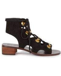 See By Chloé - Edna Black Suede Sandals - Lyst