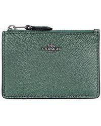 COACH - Dark Green Metallic Leather Card Holder - Lyst