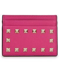 Valentino - Rockstud Fuchsia Leather Card Holder - Lyst
