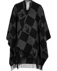 McQ - Checked Wool-blend Poncho - Lyst