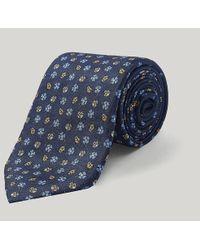 Harvie & Hudson - Navy And Yellow Ladybirds Printed Silk Tie - Lyst