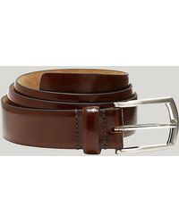Harvie and Hudson | Brown Leather Feather Edge Belt | Lyst