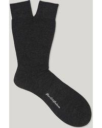 Harvie & Hudson - Charcoal Short Merino Wool Socks - Lyst