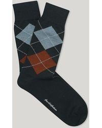 Harvie & Hudson - Argyle Green Orange And Sky Merino Wool Sock - Lyst